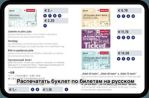 Буклет о билетах и проездных в Вене