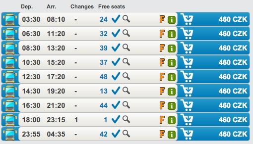 Примерное расписание автобусов Student Agency Прага-Вена