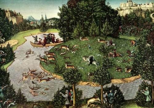Лукас Кранах Старший «Охота на оленей» (1529 г.) Вена, Музей истории искусств