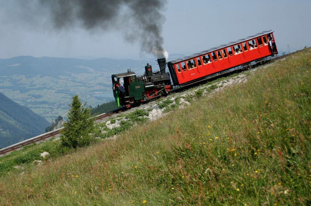 Подъём на гору Шафберг фуникулёром Schafbergbahn