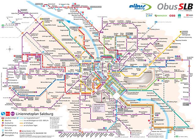 Схема городского транспорта Зальцбурга
