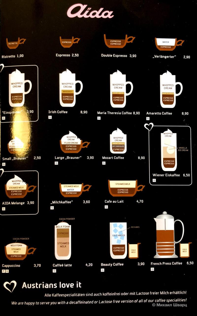 Виды кофе в кафе Aida