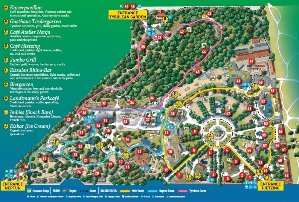 Карта Венский Зоопарка Шёнбрунн