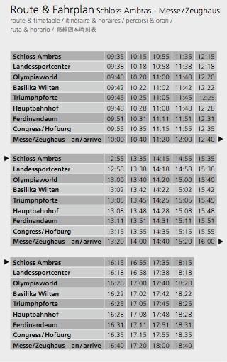 Расписание автобуса от замка Амбрас
