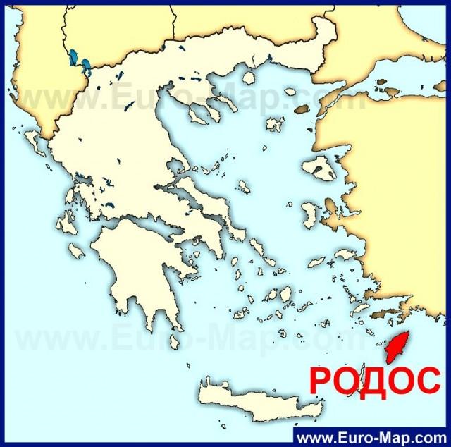 Остров Родос на карте Греции