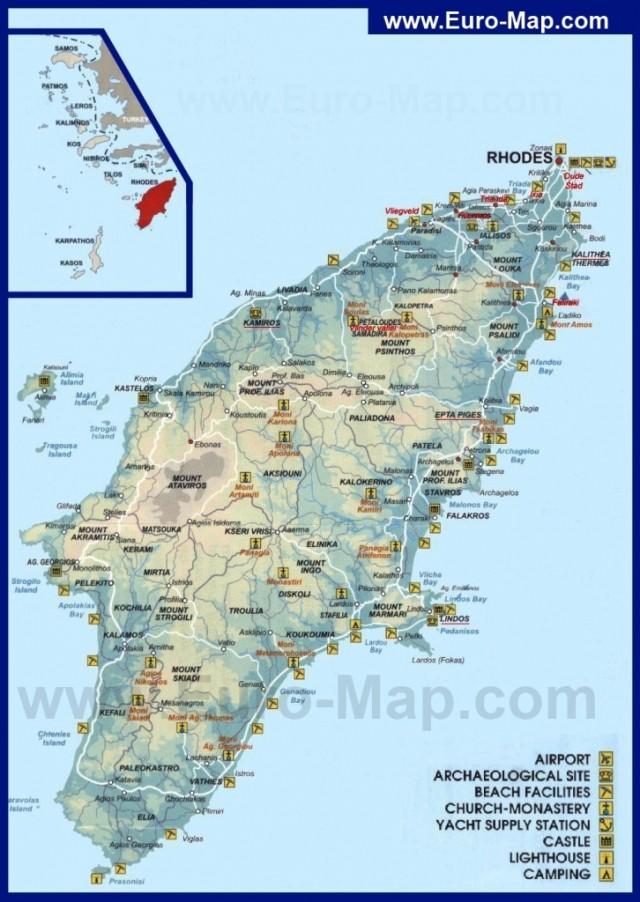 Туристическая карта Родоса