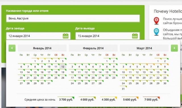 В календаре показываются цены по дням