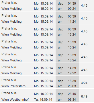 Расписание поездов Прага→Вена