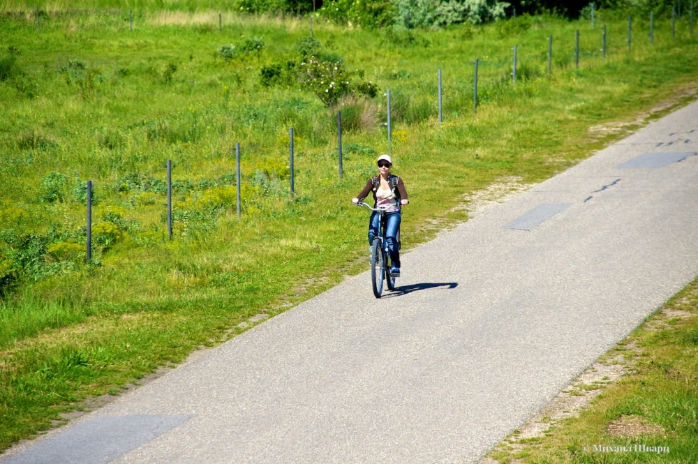 Лена едет на велосипеде