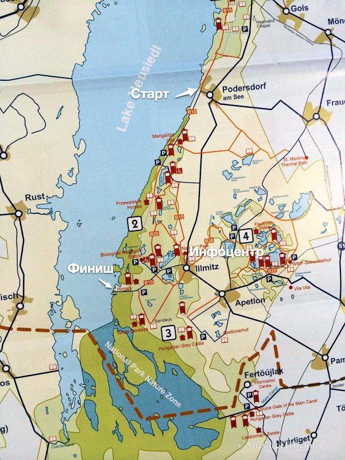 Наш маршрут и карта парка Нойзидлер – Зеевинкель