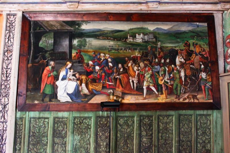 """Картина """"Поклонение волхвов"""". На заднем плане замок Гольдег"""