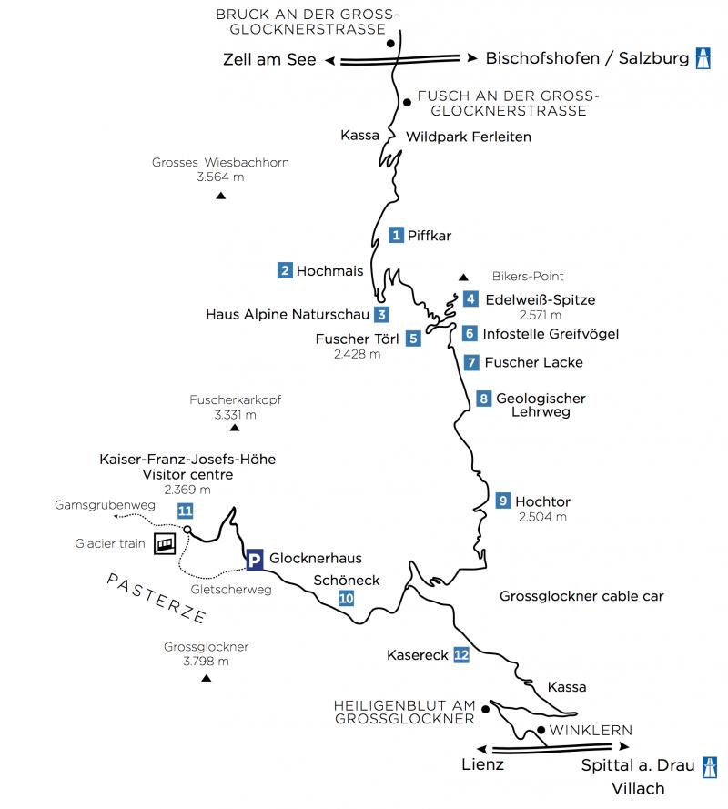 Схема Высокогорной дороги Гросглокнер