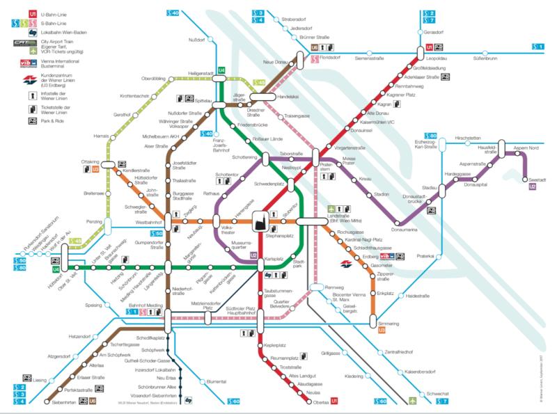 Схема городского транспорта Вены