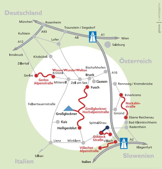 Карта других альпийских дорог