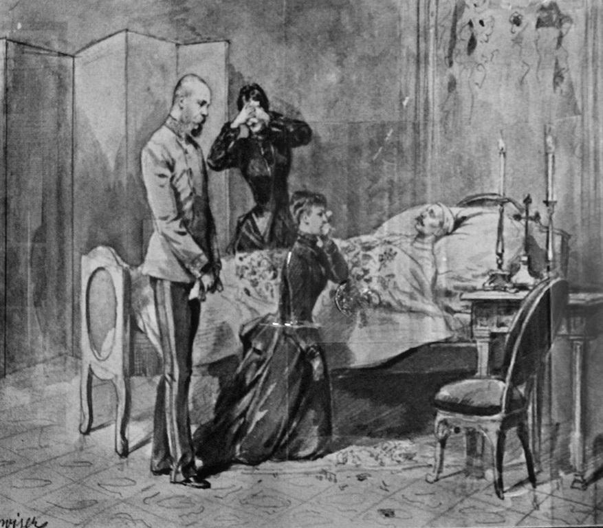 Император и императрица у смертного одра сына