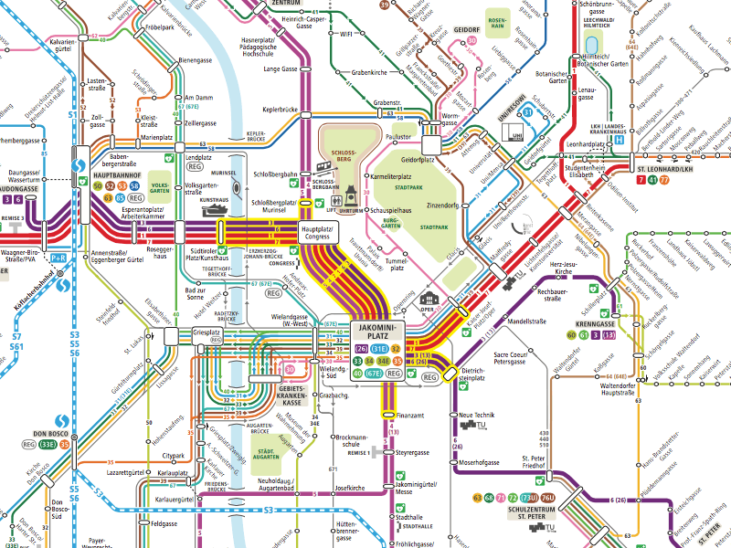 Схема городского транспорта Граца