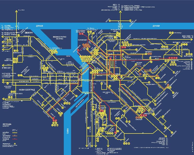 Карта городского транспорта Белграда