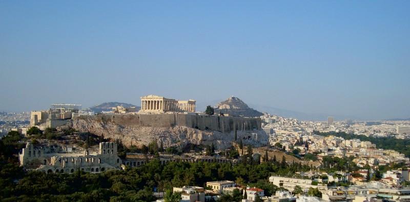 Панорама Афин и Акрополя с высоты холма Филопаппу