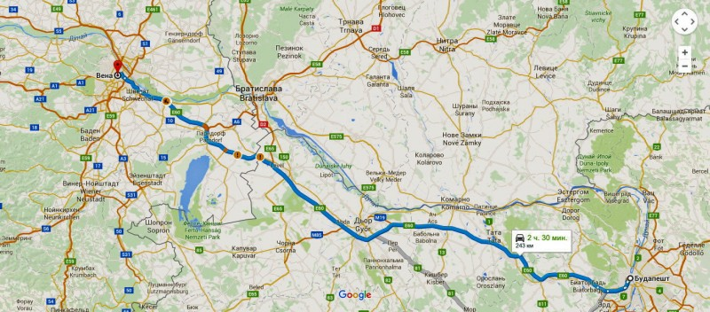 Карта маршрута на автомобиле