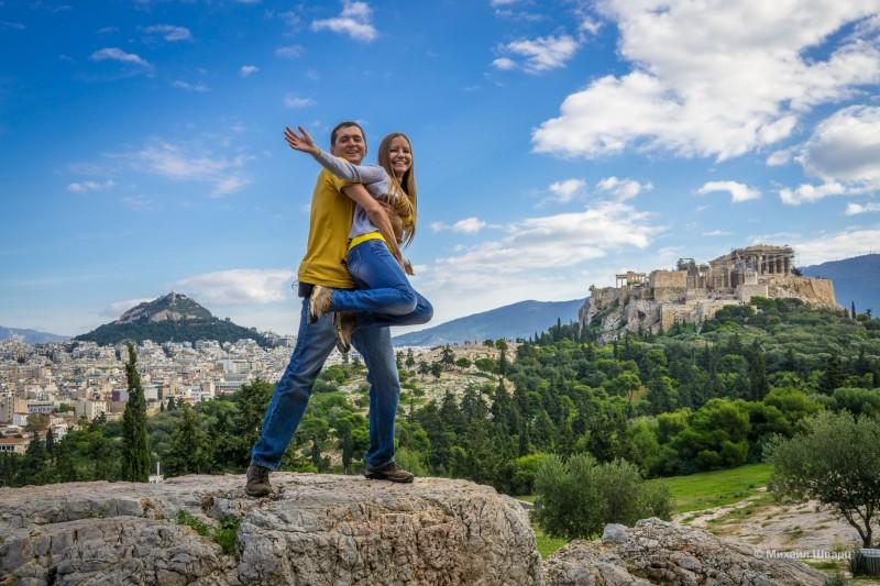 Фото на фоне Акрополя