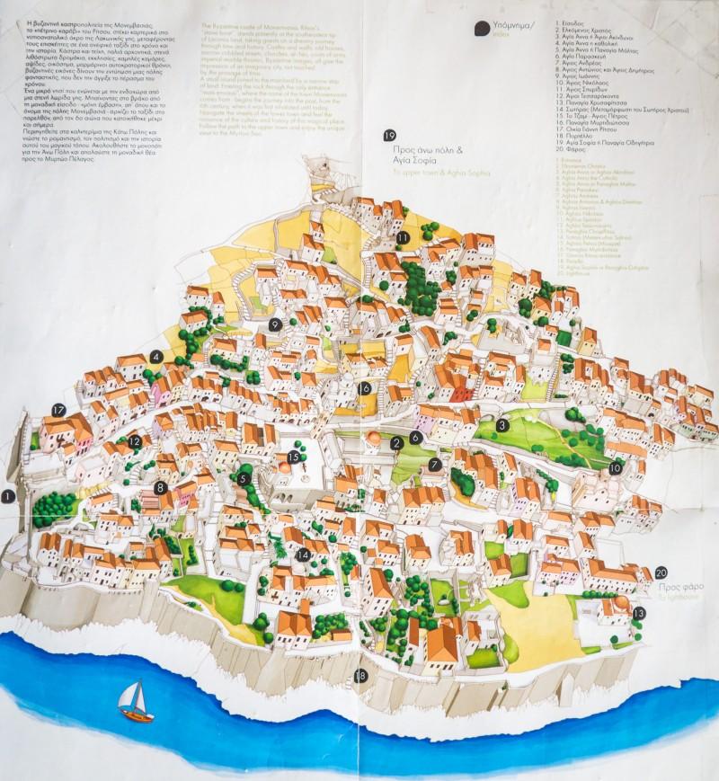 Карта Монемвасии