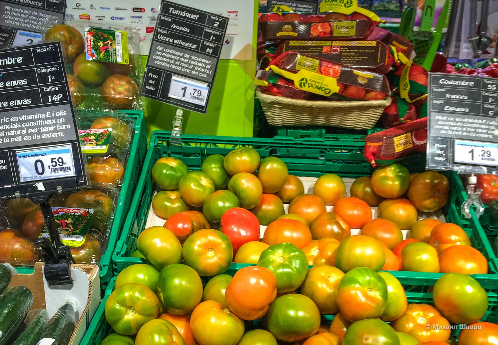 Цены на продукты в Испании 2016