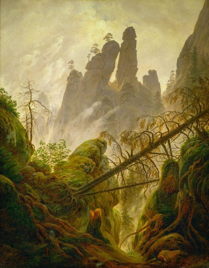 """Каспар Давид Фридрих """"Скалистый пейзаж в Эльбских песчаниковых горах"""", 1822-23 гг."""