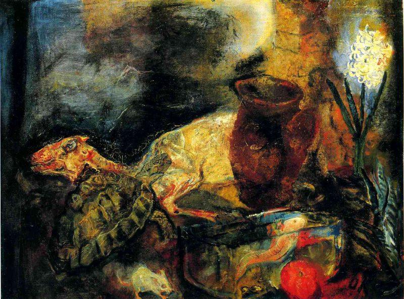 """Оскар Кокошка """"Натюрморт с мертвым ягненком"""", 1910 г."""