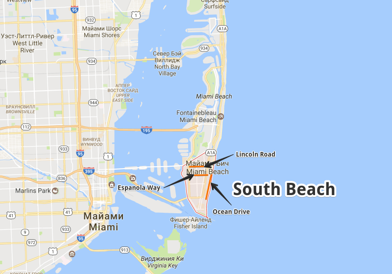 Карта South Beach