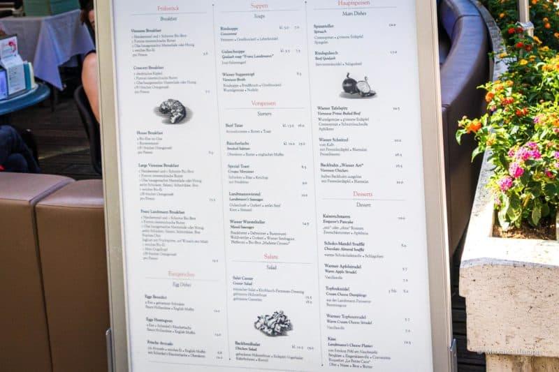 Меню в Кафе Landtmann