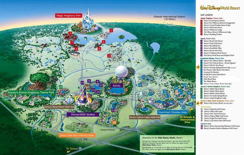 Схема парка Диснейуорлд