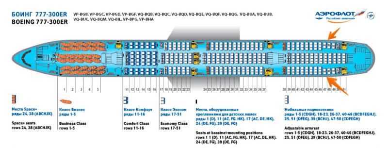 Схема салона в 777-300er у Аэрофлота