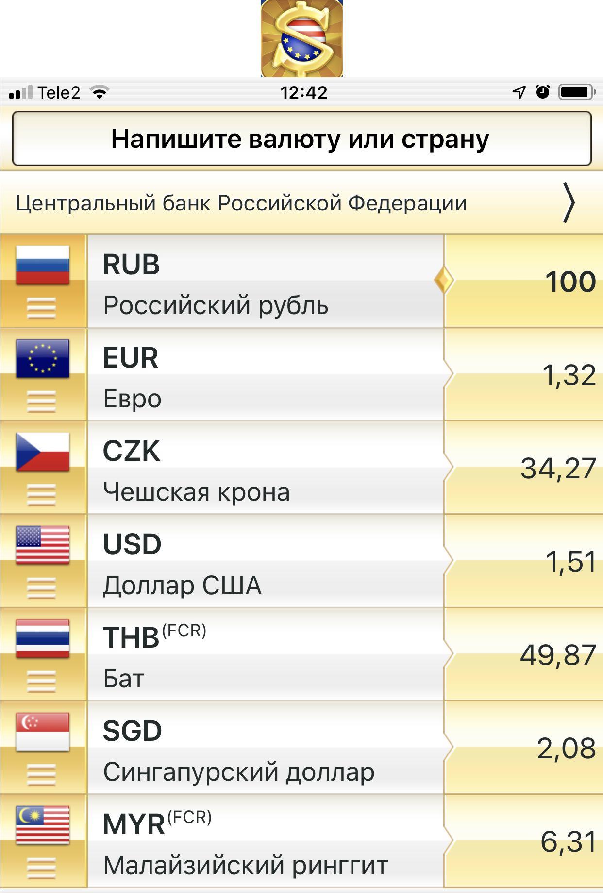 Приложение с курсами валют