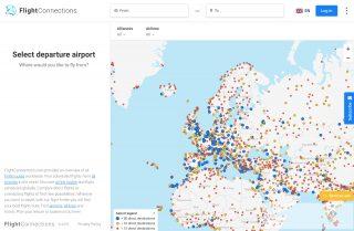 Мировая карта аэропортов и рейсов