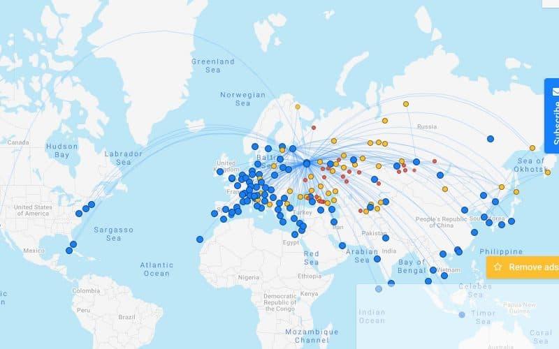 Мировая карта аэропортов и рейсов 2