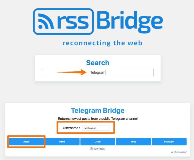 Telegram канал в RSS ленту