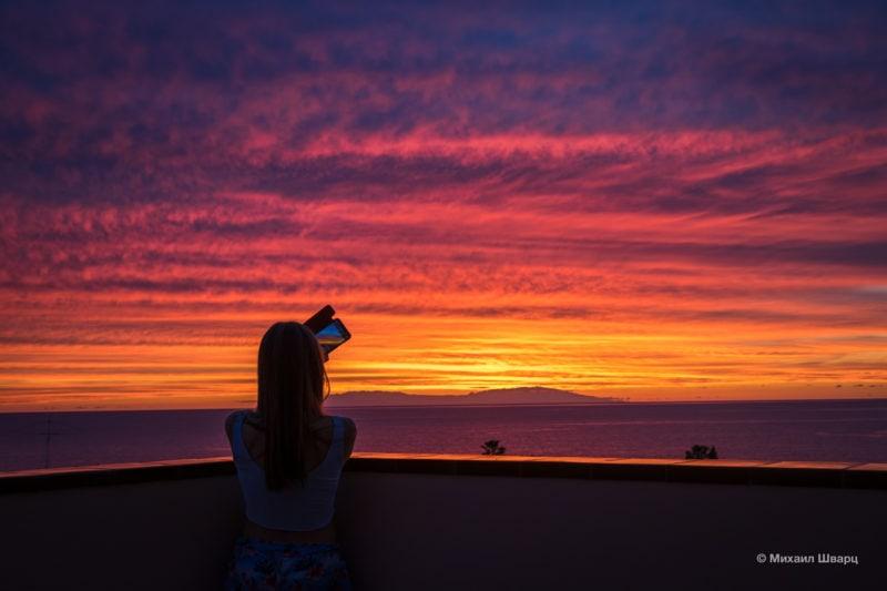 Потрясающие закаты на Тенерифе