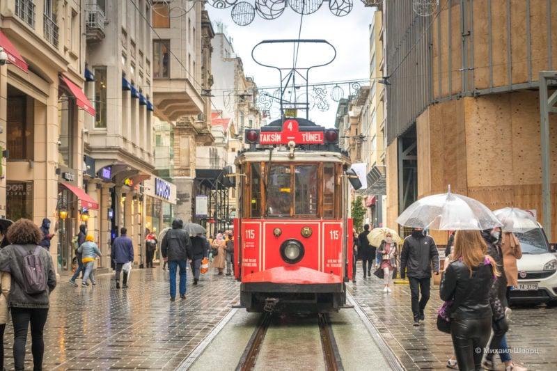 Легендарный красный трамвай до Taksim