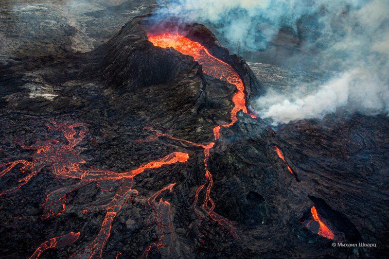 Вулкан Fagradalsfjall с дрона